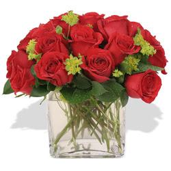 Ankaraya çiçek yolla  10 adet kirmizi gül ve cam yada mika vazo