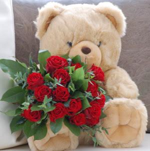 Ankara internetten çiçek siparişi  9 adet kirmizi gül ve orta boy ayicik