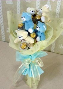 6 adet pelus ayicik buketi  Ankara çiçekçiler