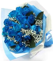15 adet mavi gülden şahane eşsiz buket  Ankara online çiçekçi , çiçek siparişi