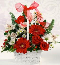 Karışık rengarenk mevsim çiçek sepeti  Ankara çiçek servisi , çiçekçi adresleri