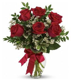 Cam vazo içerisinde 6 adet kırmızı gül  Ankara çiçekçi telefonları