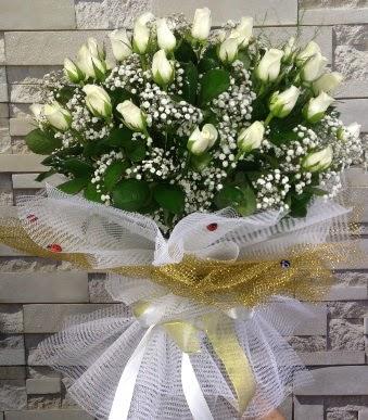 41 adet beyaz gül kız isteme buketi  Ankara çiçek , çiçekçi , çiçekçilik