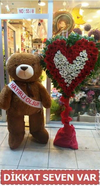 1.5 Metre peluş ayı ve Kalp  Ankara İnternetten çiçek siparişi