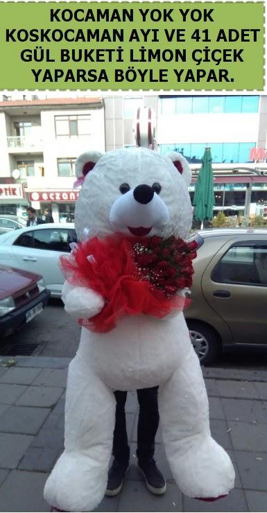 Koskocaman beyaz ayı ve 25 adet gül  Ankara anneler günü çiçek yolla
