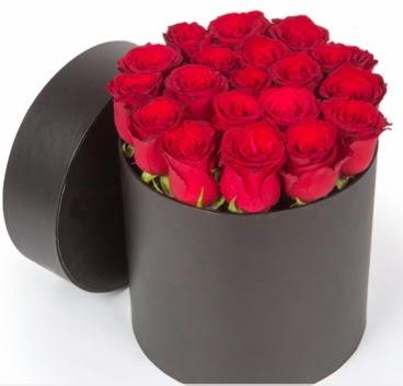 21 adet siyah kutuda kırmızı gül  Ankara hediye çiçek yolla