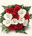Ankara ucuz çiçek gönder  10 adet kirmizi beyaz güller - anneler günü için ideal seçimdir -