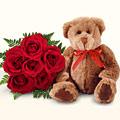 Ankara kaliteli taze ve ucuz çiçekler  5 gül ve orta boy ayicik
