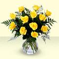 Ankara hediye sevgilime hediye çiçek  9 adet sari gül mika ve cam vazoda