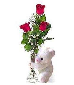 oyuncak ve 3 adet gül  Ankara anneler günü çiçek yolla