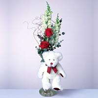 2 adet gül ve panda özel  Ankara 14 şubat sevgililer günü çiçek