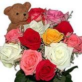 renkli güller ve ayicik   Ankara internetten çiçek satışı