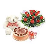 ayicik yaspasta ve gül   Ankara İnternetten çiçek siparişi