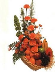 sepet kir çiçekleri meyva   Ankara çiçekçi telefonları