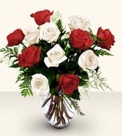 Ankara online çiçekçi , çiçek siparişi  6 adet kirmizi 6 adet beyaz gül cam içerisinde