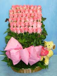 Ankara güvenli kaliteli hızlı çiçek  sepet içerisinde 41 adet gül sira halinde