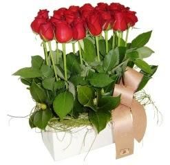 Ankara güvenli kaliteli hızlı çiçek  12 adet kirmizi güllerden sepet tanzimi