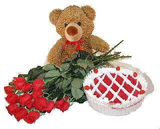 Ankara 14 şubat sevgililer günü çiçek  12 adet kirmizi gül ayicik ve yaspasta