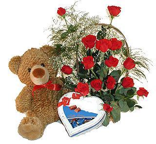 Ankara 14 şubat sevgililer günü çiçek  12 adet kirmizi gül bir kutu çikolata ve ayicik