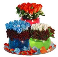 Ankara yurtiçi ve yurtdışı çiçek siparişi  3 cam vazoda 3 renkli gül görselligi