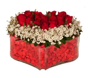 Ankara kaliteli taze ve ucuz çiçekler  Mika kalp içerisinde 9 adet kirmizi gül tanzimi