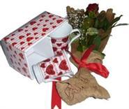 Ankara çiçek servisi , çiçekçi adresleri  2 adet kalpli kupa ve kirmizi gül buketi