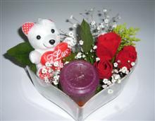 Ankara güvenli kaliteli hızlı çiçek  kalp içerisinde 3 gül seni seviyorum yazili pelus