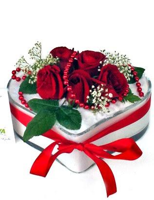 Ankara yurtiçi ve yurtdışı çiçek siparişi  EN ÇOK BEN SEVIYORUM Mika kalp 5 adet kirmizi gül