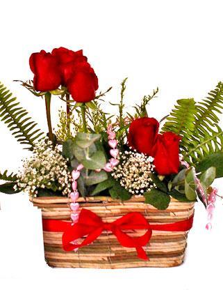 Ankara online çiçekçi , çiçek siparişi  SEVDIM DIYENLERE Örme sepet 9 adet kirmizi gül