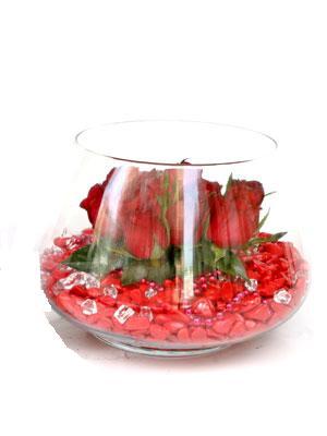 Ankaraya çiçek yolla  9 adet kirmizi gül cam fanus içerisinde