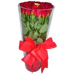 Ankara çiçekçiler  12 adet kirmizi gül cam yada mika vazo tanzim