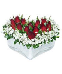 Ankara çiçek servisi , çiçekçi adresleri  mika kalp içerisinde 9 adet kirmizi gül