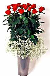 Ankara güvenli kaliteli hızlı çiçek  9 adet kirmizi gül cam yada mika vazoda