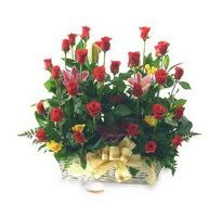 Ankara çiçek siparişi vermek  15 adet kirmizi gülden sepet tanzimi