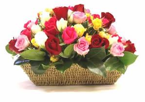 Ankara 14 şubat sevgililer günü çiçek  karisik 15 adet gül sepet modeli