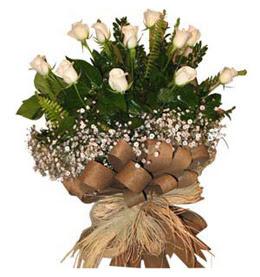 Ankaraya çiçek yolla  9 adet beyaz gül buketi