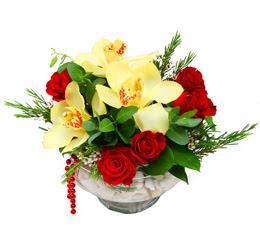 Ankara çiçekçi telefonları  1 adet orkide 5 adet gül cam yada mikada