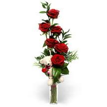 Ankara çiçek online çiçek siparişi  cam yada mika vazo içinde 7 adet kirmizi gül ve oyuncak