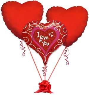 Ankara kaliteli taze ve ucuz çiçekler  3 adet büyük boy kalp uçan balon