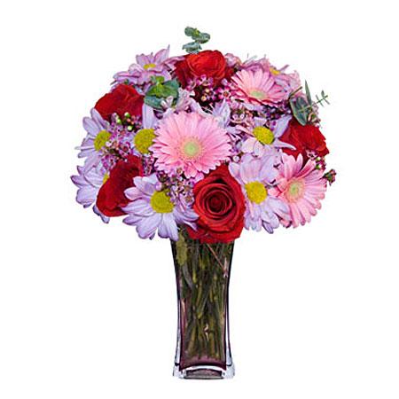 Görsel hediye karisik cam mevsim demeti  Ankara 14 şubat sevgililer günü çiçek