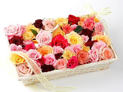 33 adet renkli gül sepet içerisinde  Ankara kaliteli taze ve ucuz çiçekler