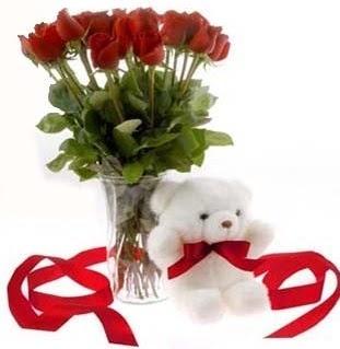 Ankara çiçek , çiçekçi , çiçekçilik  8 adet kirmizi gül ve pelus ayicik  Ankara çiçek mağazası , çiçekçi adresleri