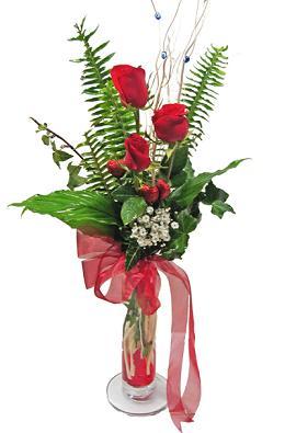 Çiçek gönderin cam vazoda 3 gül çiçekleri  Ankara anneler günü çiçek yolla