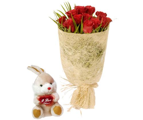 10 adet kirmizi gül ve küçük pelus oyuncak  Ankara yurtiçi ve yurtdışı çiçek siparişi