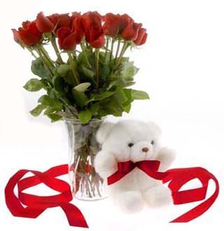 Ankara kaliteli taze ve ucuz çiçekler  12 adet kirmizi gül ve pelus ayicik