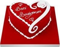 Ankarada çiçek gönderme sitemiz güvenlidir  Seni seviyorum yazili kalp yas pasta