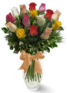 15 adet vazoda renkli gül  Ankara hediye sevgilime hediye çiçek