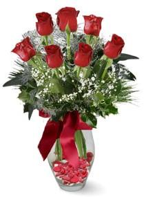 7 adet vazoda gül  Ankara hediye sevgilime hediye çiçek  kirmizi gül