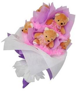 9 adet ayiciktan buket  Ankara internetten çiçek satışı