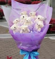 11 adet pelus ayicik buketi  Ankara çiçek satışı